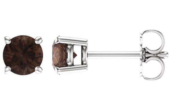5mm Smoky Quartz Stud Earrings, 14K White Gold