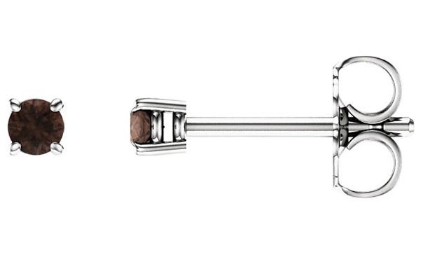 2.5mm Smoky Quartz Stud Earrings, 14K White Gold
