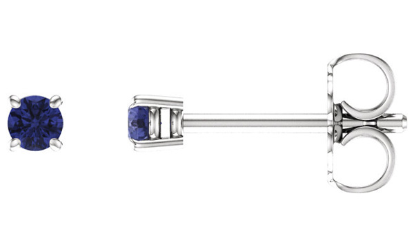 2.5mm Tanzanite Stud Earrings, 14K White Gold