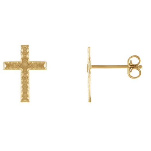 Textured Design 14K Gold Cross Stud Earrings