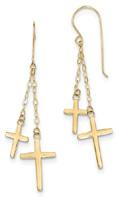 Two Crosses Dangle Earrings, 14K Gold
