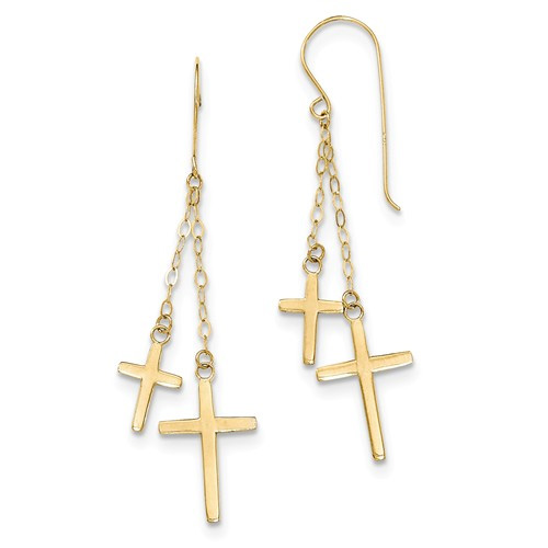 Two Crosses Dangle Earrings, 14K Gold
