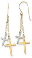 14K Two-Tone Gold Cross Dangle Earraings