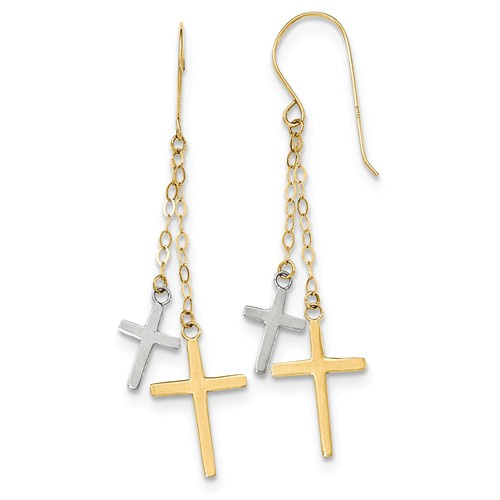 14K Two-Tone Gold Cross Dangle Earraings