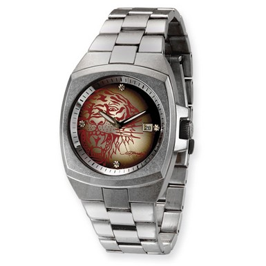 Ed Hardy Kool Steel Red Tiger Watch (Apples of Gold)