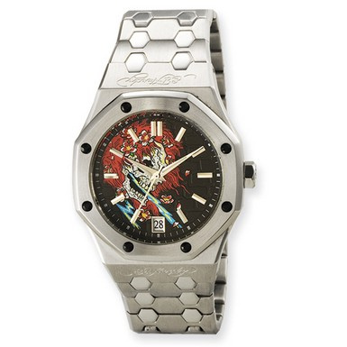 Buy Ed Hardy Industrial Skull/Flames Watch