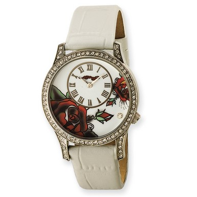 Ed Hardy Antoinette White Watch (Apples of Gold)