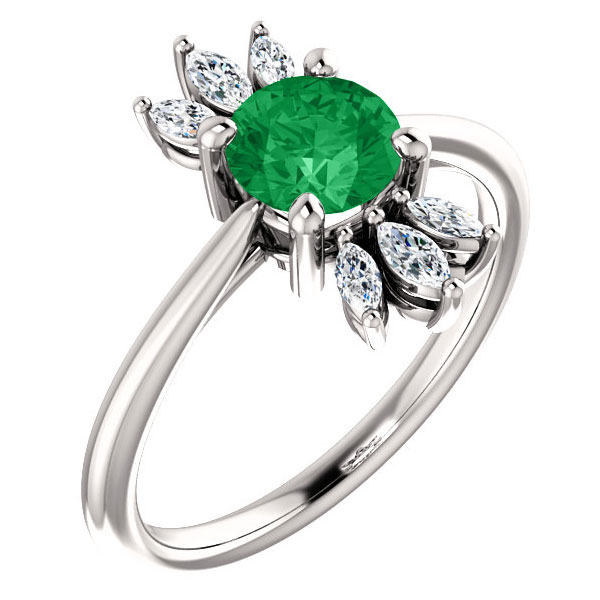 Emerald and Marquise Diamond Petal Ring in 14K White Gold