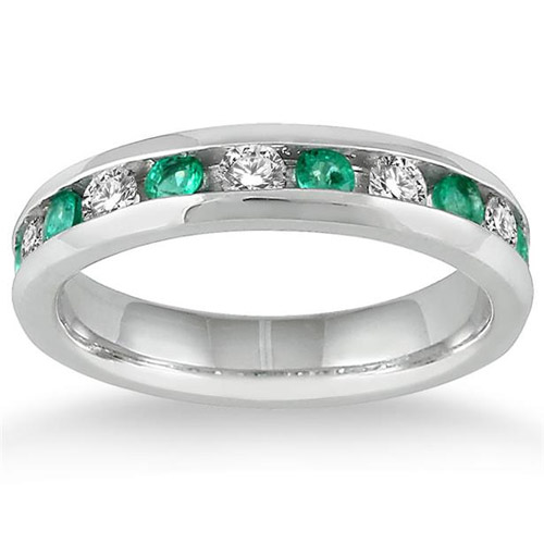 Emerald and Diamond Channel Band, 14K White Gold