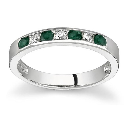 Emerald and Diamond Stackable Channel Ring, 14K White Gold
