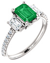 Emerald-Cut Three-Stone Emerald and Diamond Engagement Ring