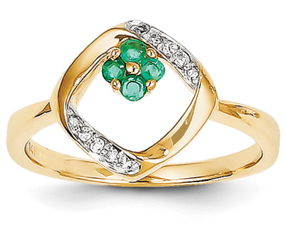Emerald and Diamond 14K Gold Flower Ring