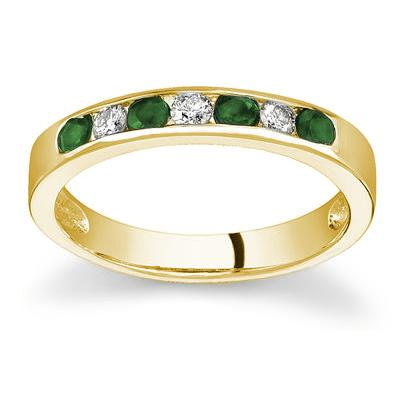 Emerald and Diamond Stackable Channel Band