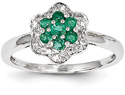 Emerald and Diamond Flower Ring, 14K White Gold