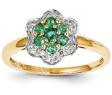 14K Gold Emerald and Diamond Flower Ring