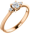 0.30 Carat 14K Rose Gold Claw-Prong 3-Stone Diamond Engagement Ring