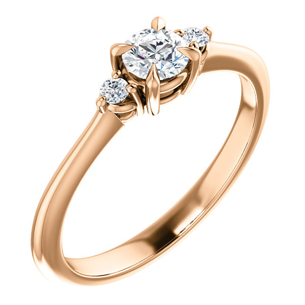 0.30-Carat, 14k Rose Gold, Claw-Prong, 3-Stone, Diamond Engagement Ring
