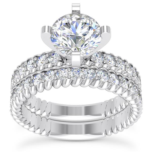 1.41 Carat Diamond Bridal Wedding Ring and Engagement Set