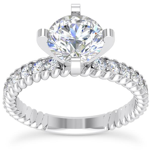 0.87 Carat Diamond Ridged Engagement Ring, 14K White Gold