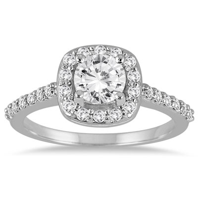 1.08 Carat Classical Diamond Halo Engagement Ring, 14K White Gold