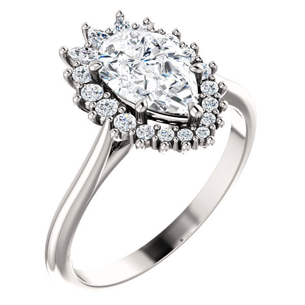 1 1/2 carat pear-shaped diamond halo engagement ring