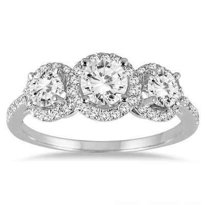 1 1/3 Carat Three-Stone Diamond Halo Ring in 14K White Gold