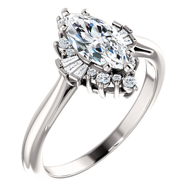 1 1/6 carat marquise and baguette diamond halo engagement ring