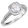 1.10 Carat Halo Style Diamond Engagement Ring, 14K White Gold
