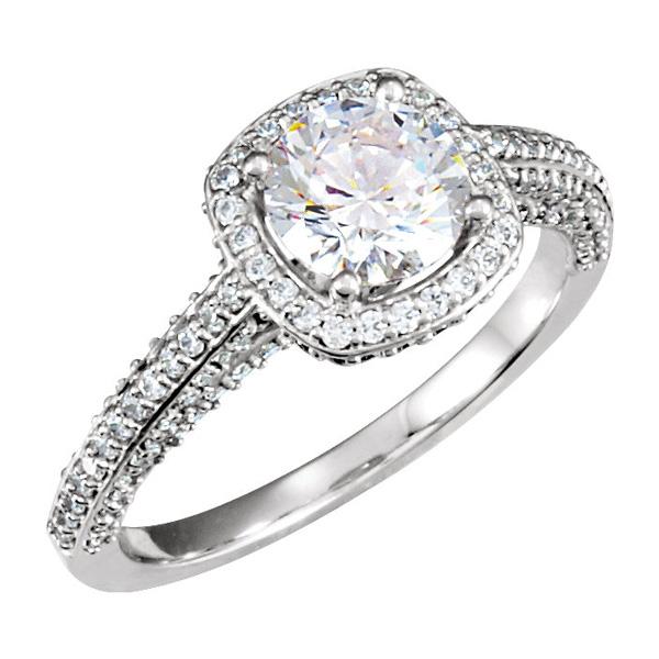 1.10 Carat Halo Style Diamond Engagement Ring, 14K White Gold