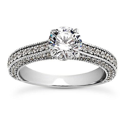 1.11 Carat Diamond Engagement Ring, 14K White Gold