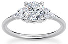 1.15 Carat Diamond Trinity Round and Marquise Engagement Ring