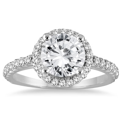 1.16 Carat Prong-Set Halo Diamond Engagement Ring in 14K White Gold