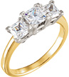 1.16 Carat Two-Tone 3 Stone Princess-Cut Diamond Engagement Ring