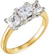 1.16 Carat Two-Tone 3 Stone Princess-Cut Diamond Engagement Ring
