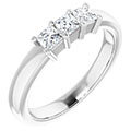 1/2 carat 3-stone princess-cut diamond engagement ring, 14k white gold