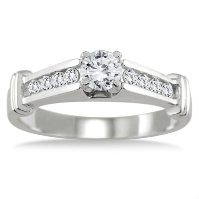 1/2 Carat Channel and Prong-Set Diamond Engagement Ring in 10K White Gold