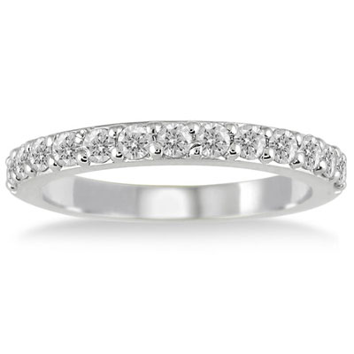 1/2 Carat Diamond Wedding Band Ring in 10K White Gold