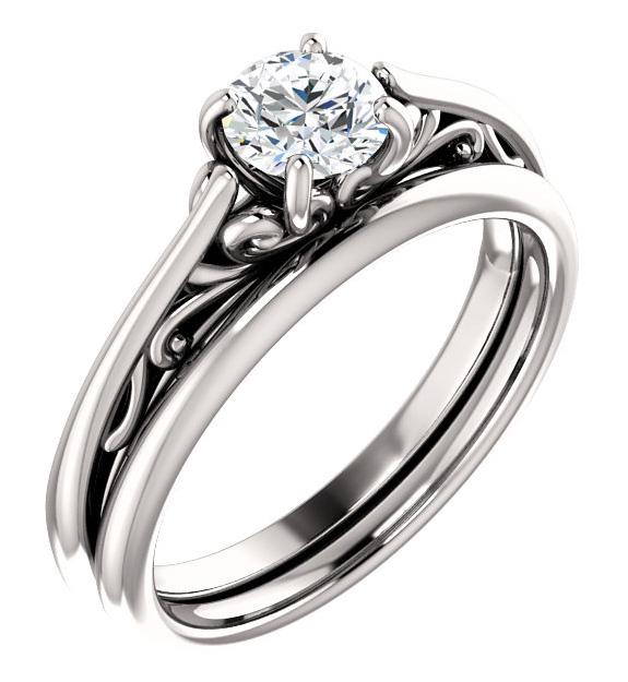 1/2 Carat Flourish Diamond Bridal Wedding Ring Set