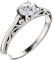 1/2 Carat Flourish Diamond Solitaire Engagement Ring
