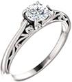 1/2 Carat Flourish Diamond Solitaire Engagement Ring