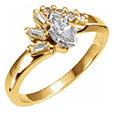 1/2 Carat Marquise and Baguette Diamond Engagement Ring, 14K Gold