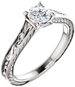 1/2 Carat Paisley Scroll Diamond Engagement Ring