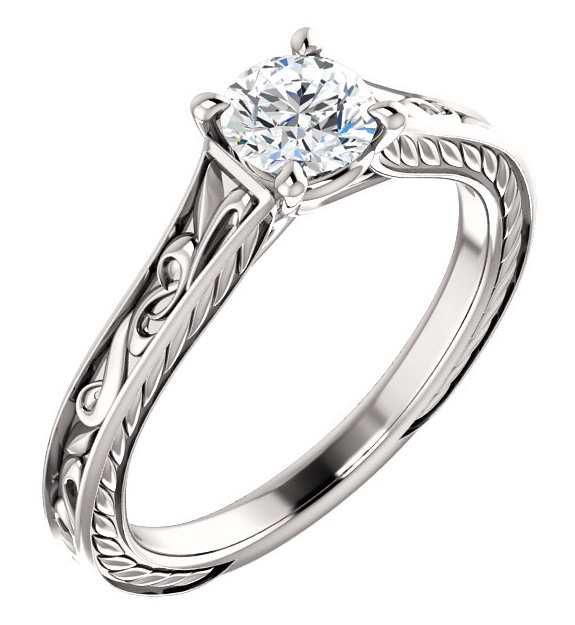 Platinum 1/2 Carat Scroll-Work Diamond Engagement Ring