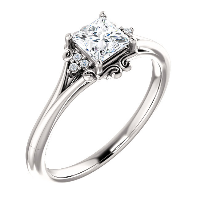 Princess-Cut Vintage-Inspired Diamond Engagement Ring