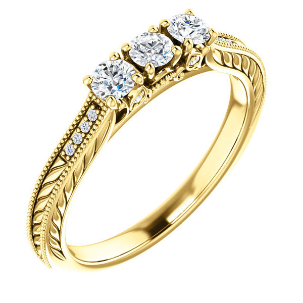 1/3 Carat 3-Stone Diamond Engagement Ring, 14K Yellow Gold