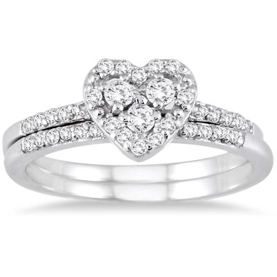 1/3 Carat Heart-Shaped Trinity Diamond Bridal Ring Set in 10K White Gold