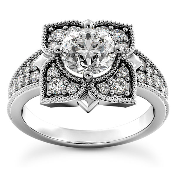 1.52 Carat Lotus Flower Diamond Engagement Ring