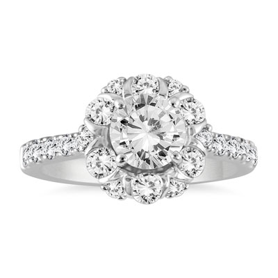 1 7/8 Carat Designer Diamond Halo Engagement Ring in 14K White Gold