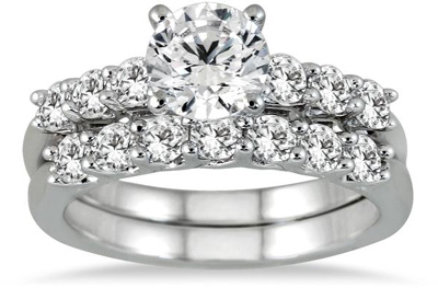 1.91 Carat Diamond Bridal Wedding Ring Set in 14K White Gold