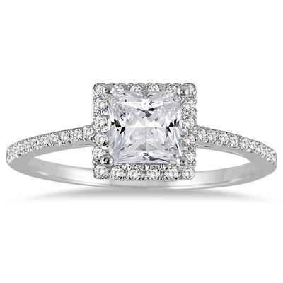 1 Carat Alluring Princess-Cut Diamond Halo Engagement Ring in 14K White Gold